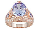 Purple And White Cubic Zirconia 18k Rose Gold Over Silver Ring 10.40ctw