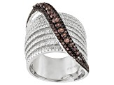 Mocha And White Cubic Zirconia Sterling Silver Ring 1.04ctw