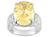 Yellow And White Cubic Zirconia Sterling Silver Ring 21.90ctw