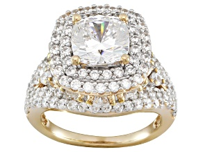 Cubic Zirconia 18k Yellow Gold Over Sterling Silver Ring 11.10ctw
