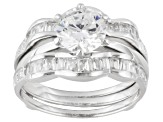 Bella Luce ® 2.88ctw Round And Baguette, Rhodium Over Sterling Silver Ring With Wrap