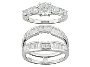 Bella Luce ® 3.65ctw Round And Tapered Baguette, Rhodium Over Sterling Silver Ring With Guard