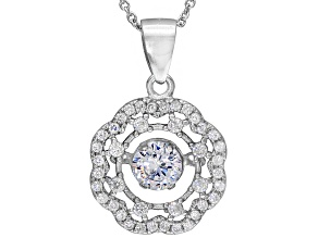 White Cubic Zirconia Rhodium Over Sterling
