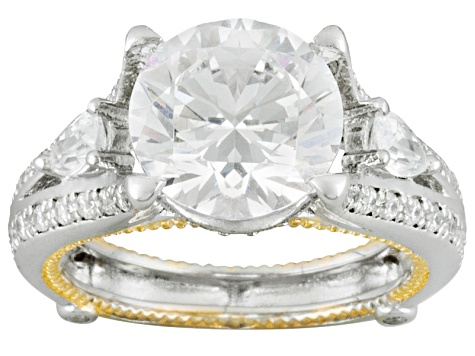 Bella Luce ® 7.37ctw Round And Pear, Rhodium Over & 18k Yellow Gold Over Sterling Silver Ring