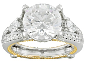White Cubic Zirconia Rhodium Over & 18k Yellow Gold Over Sterling Silver Ring 7.37ctw