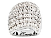 7.05ctw Round Cubic Zirconia Rhodium Over Sterling Silver Ring