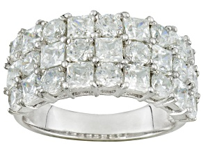 Cubic Zirconia Rhodium Over Sterling Silver Ring 6.04ctw