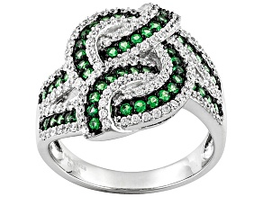 Green And White Cubic Zirconia Silver Ring 2.94ctw