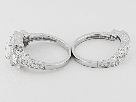 White Cubic Zirconia Sterling Silver Bridal Set 3.75ctw