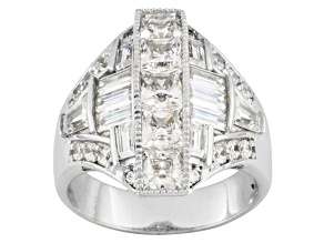 White Cubic Zirconia Sterling Silver Ring 5.43ctw