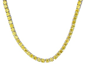 Yellow Cubic Zirconia Silver Necklace 45.15ctw