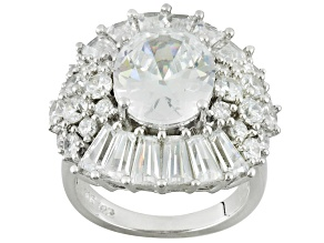 Cubic Zirconia Sterling Silver Ring 15.63ctw
