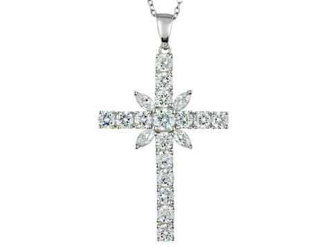 a6ec371c59f8e7 Cubic Zirconia Sterling Silver Cross Pendant With Chain 6.22ctw - BJJ887    JTV.com