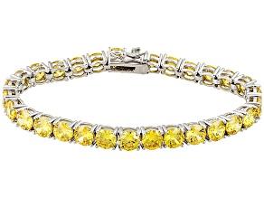 Yellow Cubic Zirconia Silver Bracelet 41.47ctw