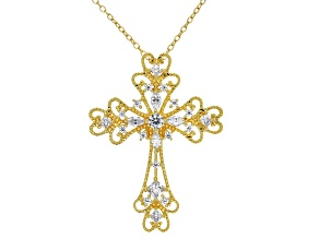 White Cubic Zirconia 18K Yellow Gold Over Silver Cross Pendant 1.19ctw