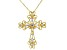 White Cubic Zirconia 18K Yellow Gold Over Silver Cross Pendant With 18