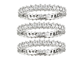 Cubic Zirconia Sterling Silver Band Rings Set 3.55ctw