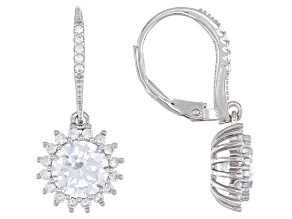 Cubic Zirconia Rhodium Over Sterling Silver Dangle Earrings 4.80ctw