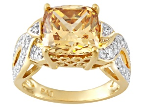 Brown And White Cubic Zirconia 18k Yellow Gold Over Silver Ring 7.96ctw