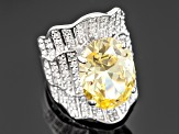 Yellow And White Cubic Zirconia Silver Ring 17.04ctw