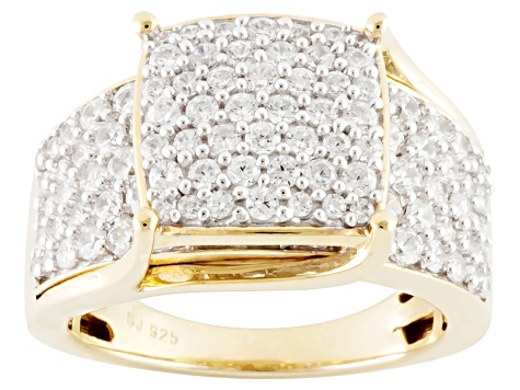 Cubic Zirconia 18k Yellow Gold Over Silver Ring 4.10ctw (1.94ctw DEW)