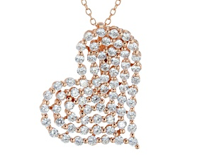 Cubic zirconia 18k rose gold over silver heart pendant with chain 4.50ctw