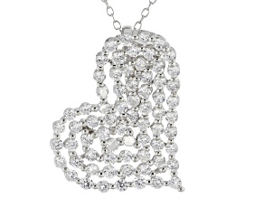 Cubic Zirconia Silver Heart Pendant With Chain 4.50ctw