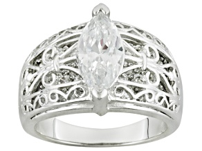 Cubic Zirconia Sterling Silver Ring 3.95ctw