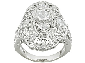 Cubic Zirconia Sterling Silver Ring 1.96ctw