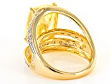 Yellow And White Cubic Zirconia 18k Yellow Gold Over Sterling Silver Ring 12.70ctw