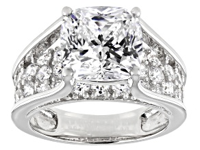 Cubic Zirconia Rhodium Over Sterling Silver Ring 9.91ctw