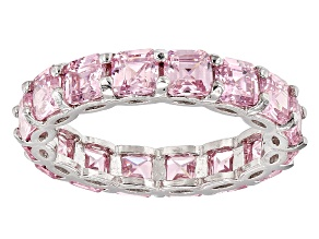 Pink Cubic Zirconia Sterling Silver Band 7.80ctw (6.24ctw DEW)