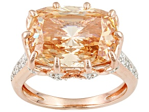 Brown And White Cubic Zirconia 18k Rose Gold Over Silver Ring 11.31ctw