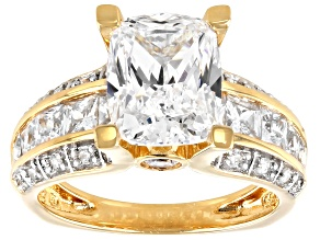 Cubic Zirconia 18k Yellow Gold Over Silver Ring 7.77ctw