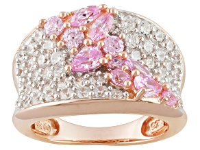 Pink And White Cubic Zirconia 18k Rose Gold Over Silver Ring 3.00ctw
