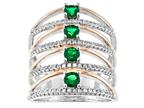 Green And White Cubic Zirconia Silver And 18k Rose Gold Over Silver Ring 1.81ctw