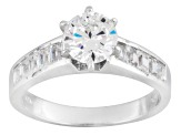 Cubic Zirconia Rhodium Over Sterling Silver Ring With Band 2.19ctw