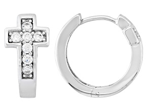 Cubic Zirconia Silver Cross Hoop Earrings .84ctw