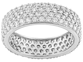 Cubic Zirconia Sterling Silver Band Ring 3.40ctw