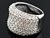 Cubic Zirconia Rhodium Over Sterling Silver Ring 5.67ctw