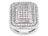Cubic Zircnia Rhodium Over Sterling Silver Ring 4.10ctw