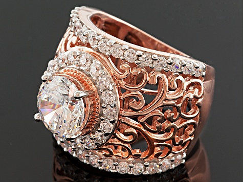 Cubic Zirconia 18k Rose Gold Over Silver Ring 5.96ctw