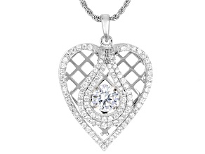 Cubic Zirconia Silver Heart Dancing Pendant With Chain 2.70ctw