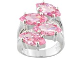 Pink And White Cubic Zirconia Silver Ring 11.40ctw