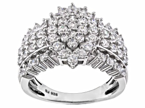Cubic Zirconia Sterling Silver Ring 3.45ctw