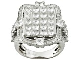 Cubic Zirconia Silver Ring 10.07ctw
