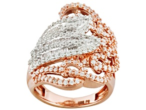 Cubic Zirconia 18k Rose Gold Over Silver Ring 2.25ctw