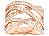 Cubic Zirconia 18k Rose Gold Over Silver Ring 1.33ctw