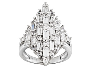 Cubic Zirconia Sterling Silver Ring 4.90ctw