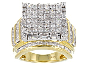 Cubic Zirconia 18k Yellow Gold Over Silver Ring 5.40ctw
